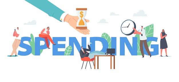 Personagens que gastam tempo de trabalho, conceito de procrastinação. procrastinando empresários, funcionários adiando o trabalho, esgotamento, cartaz de preguiça, banner ou panfleto. ilustração em vetor desenho animado