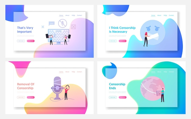 Personagens que lutam com a censura landing page template set.