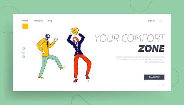 Personagens que saem do modelo de página de destino da zona de conforto