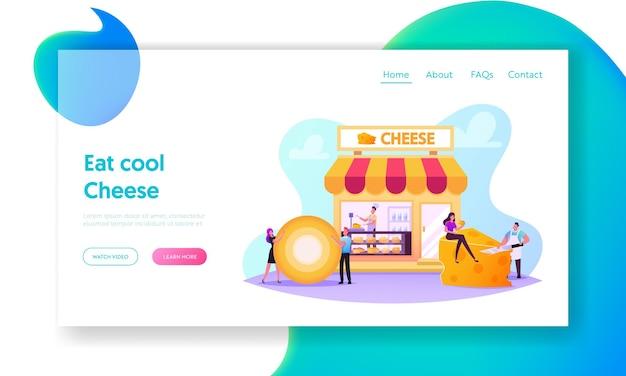 Personagens que visitam o modelo de página inicial de loja de queijos. vendedor pesa e apresenta produtos para o cliente na loja com variedades de produção na prateleira, degustação. ilustração em vetor desenho animado