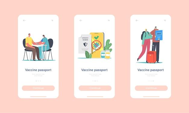 Personagens recebendo modelo de tela integrado da página do aplicativo móvel coronavirus vaccine health passport. vacinação para viajantes, conceito de certificado médico imunológico covid. ilustração em vetor desenho animado