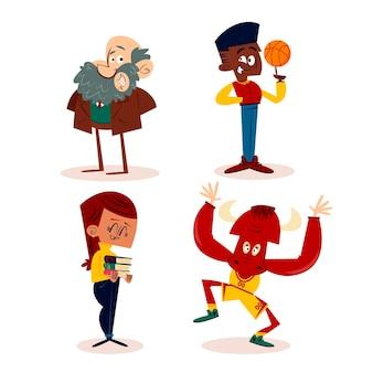 Personagens retrô desenhados à mão
