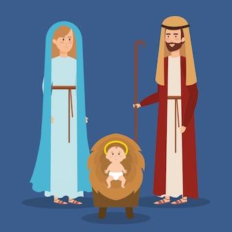 Personagens sagrados de família manjedoura