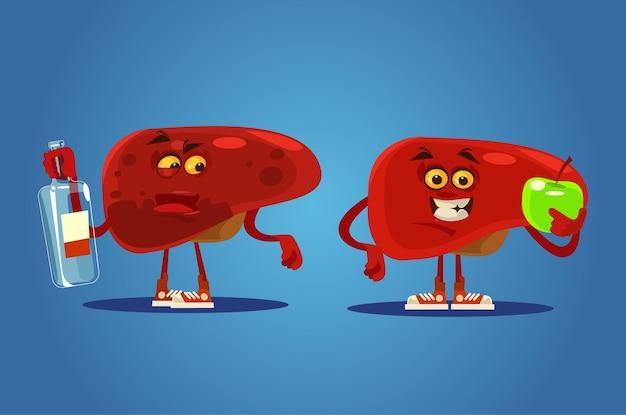 Personagens saudáveis e doentios de fígado. desenho animado