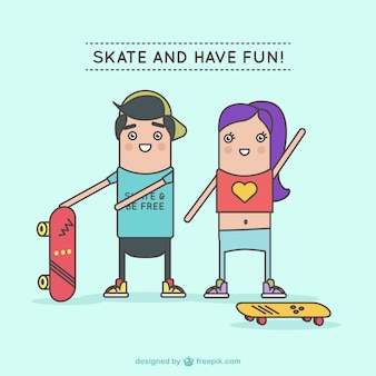 Personagens se divertindo com skates