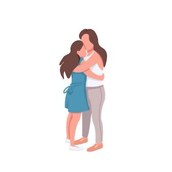 Personagens sem rosto de mãe e filha de cor lisa