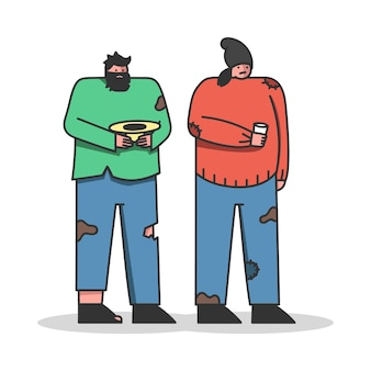 Personagens sem-teto implorando por dinheiro