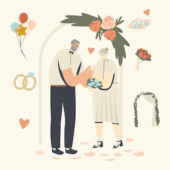 Personagens sênior na cerimônia de casamento.