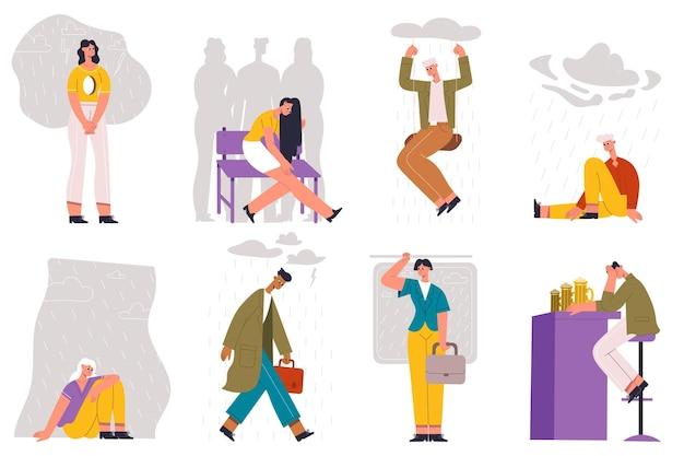 Personagens socialmente isolados, deprimidos e tristes. conjunto de ilustração vetorial de pessoas isoladas sociais tristes, solitárias e deprimidas. infeliz, sente solidão pessoa