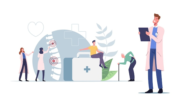 Personagens sofrem de dor nas costas ou conceito de lumbago. jovens e idosos insalubres que visitam o médico para tratamento de inflamação da coluna vertebral e dor nas costas, cuidados de saúde, medicamentos. ilustração em vetor de desenho animado