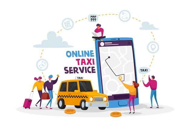 Personagens solicitando carro de táxi usando aplicativo e pegando na rua. serviço de táxi