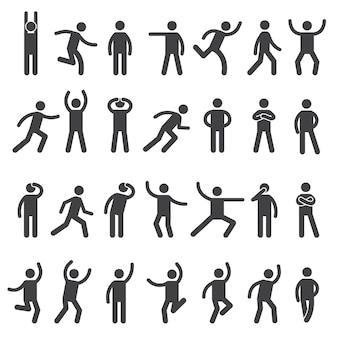 Personagens stick. ícone de postura, figuras de ação, símbolos, silhuetas do corpo humano