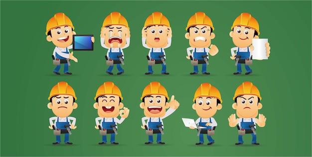 Personagens trabalhadores em emoções diferentes