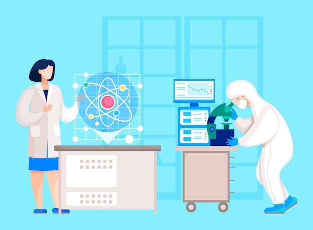 Personagens trabalhando em laboratório em experimentos ou pesquisas científicas.