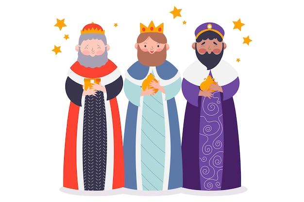 Personagens tradicionais de reyes magos ilustrados