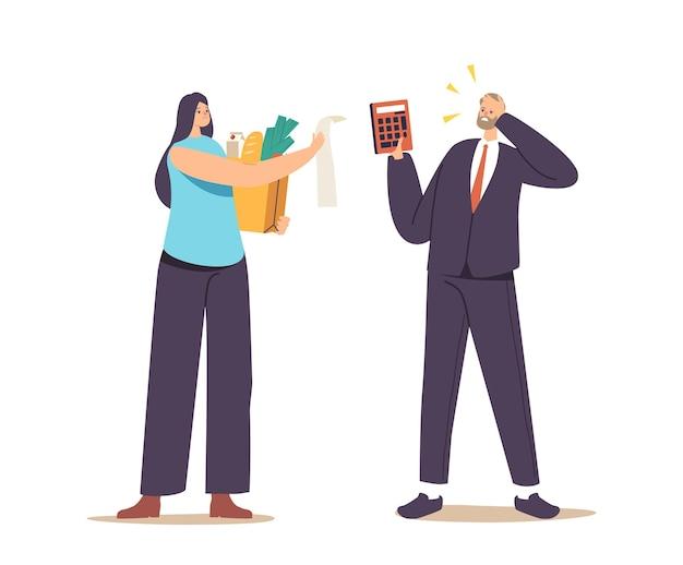 Personagens transtornados chocados com o preço dos produtos no conceito da loja