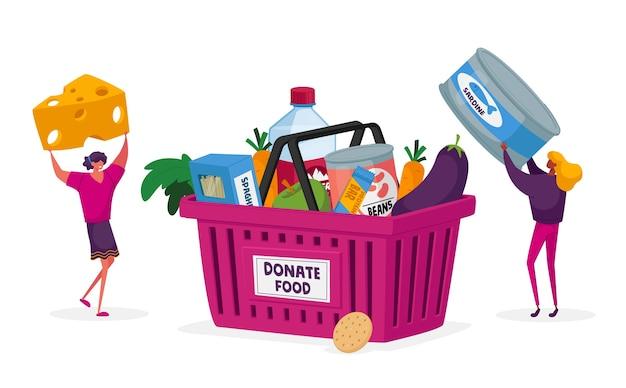 Personagens trazendo alimentos para coletar caixa de doações