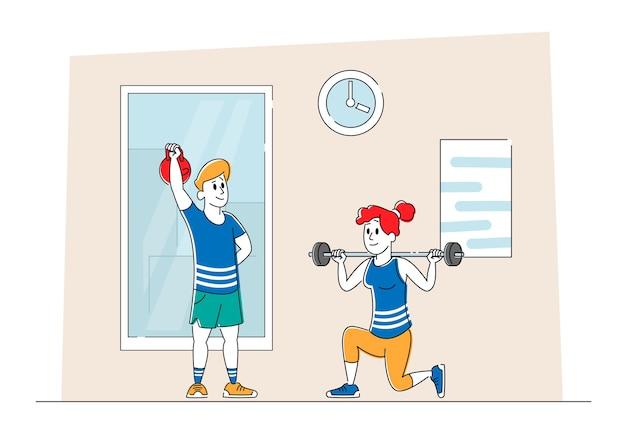 Personagens treinando na academia