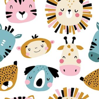 Personagens tropicais padrão sem emenda com rostos de animais fofos.
