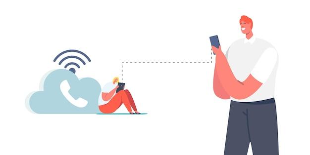 Personagens usam conexão de telefonia sem fio wifi. voip, conceito de tecnologia de voz sobre ip. sistema de telecomunicações, comunicação telefônica via nuvem ou rede. ilustração em vetor desenho animado