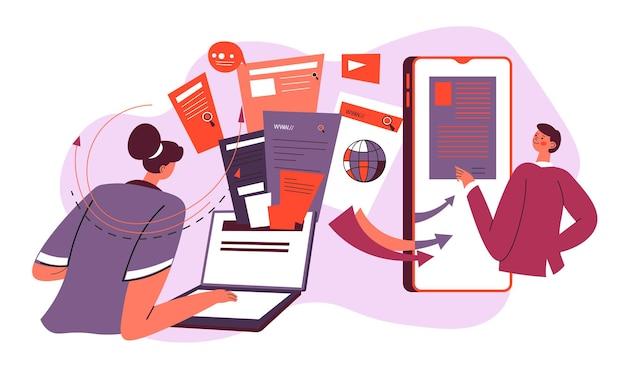 Personagens usando smartphones e gadgets para projetos, criação e desenvolvimento de negócios. janelas e setas, informações e diagramas com gráficos. trabalhadores ajudando o diretor. vetor em estilo simples