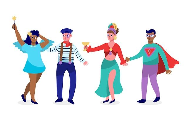 Personagens vestindo fantasias de carnaval desenhados à mão