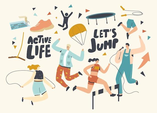 Personagens vida ativa, esporte e atividade hobby karaokê, paraquedismo, corrida com obstáculos e salto com corda. pessoas sports spare time, leisure, xtreme recreation. ilustração em vetor de desenho animado