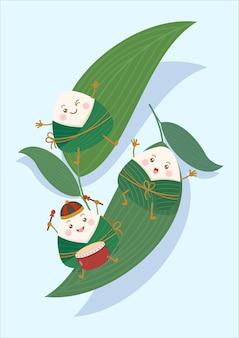 Personagens zongzi de bolinho de arroz pegajoso chinês fofo e kawaii e folhas de bambu