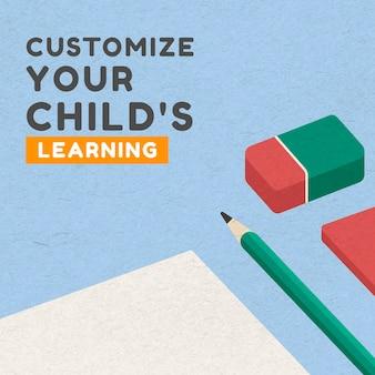 Personalize o vetor de modelo de banner social de aprendizagem do seu filho