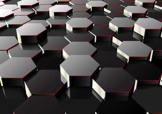 Perspectiva 3d fundo abstrato hexagonal