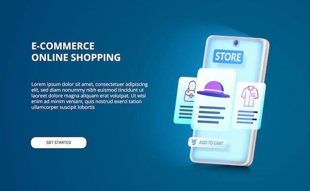 Perspectiva de smartphone 3d com design de interface do usuário de e-commerce ou aplicativo de compras on-line com tela de brilho azul