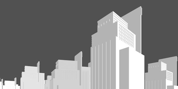 Perspectiva do edifício da paisagem urbana, edifício moderno no horizonte da cidade, silhueta da cidade, arranha-céus da cidade, centro de negócios, ilustração vetorial no design plano.