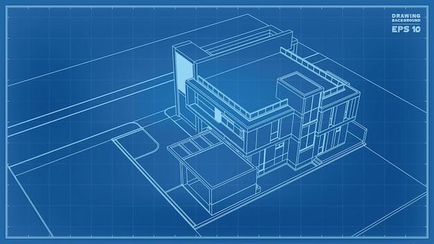 Perspectiva do projeto. 3d render de wireframe de casa tropical. ilustração em vetor de ideia de construção de casa.