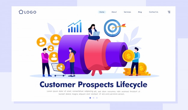 Perspectivas do cliente ciclo de vida landing page illustration vector