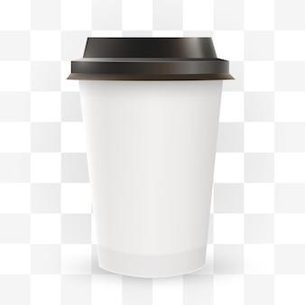Perto da xícara de café de papel em branco.