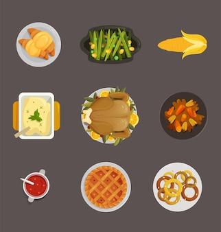 Peru de ação de graças e outros pratos e um menu delicioso do topo da mesa ver ilustração