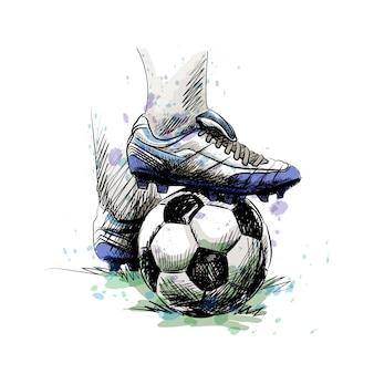 Pés de jogador de futebol pisando na bola de futebol para o pontapé inicial em um fundo branco