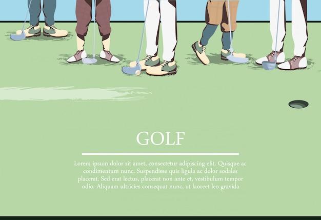Pés de jogador de golfe no campo de golfe