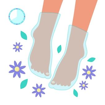 Pés de mulher usando máscara em forma de uma meia com flores, folhas, relógio isolado no fundo branco. conceito de cuidados de pernas. ilustração em vetor plana. procedimento cosmético para mulheres em casa.