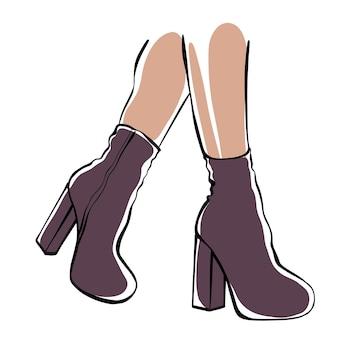 Pés femininos com botas de salto alto. ilustração de moda.