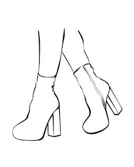 Pés femininos com botas de salto alto. ilustração vetorial de moda