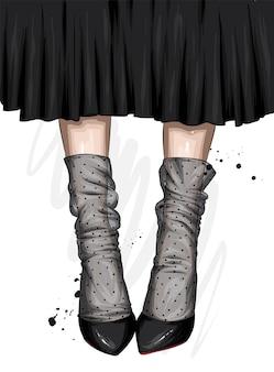 Pés femininos em sapatos