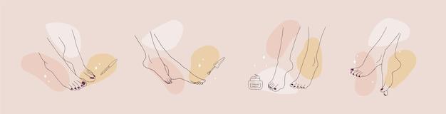 Pés femininos pedicurados. conceito de cuidados com os pés. Vetor Premium