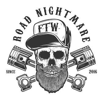 Pesadelo na estrada. caveira de hipster em boné de beisebol com pistões cruzados. elemento para logotipo, etiqueta, emblema, sinal, cartaz, camiseta. imagem