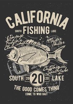 Pesca da califórnia, pôster de ilustração vintage.