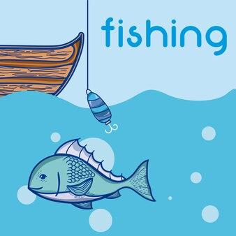 Pesca de barco com gancho