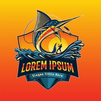 Pesca de logotipo de marlin pulando a isca
