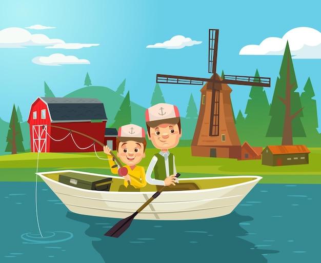 Pesca de personagens de pai e filho. ilustração em vetor plana dos desenhos animados