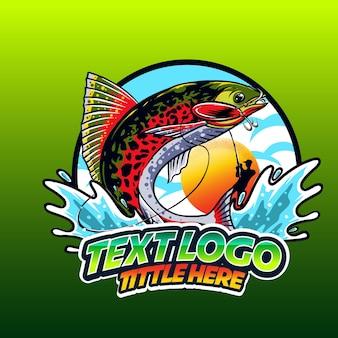 Pesca do logotipo da templeate na onda