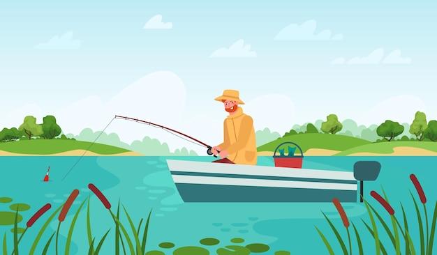 Pesca do pescador. homem no barco com vara de pescar, esperando peixe mordiscar, conceito de vetor de desenho animado de paisagem de verão ao ar livre passatempo de relaxamento. personagem masculina se divertindo em um lago ou lagoa